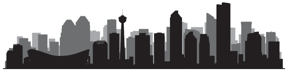 Vector image of a monochromatic Calgary skyline for Traffic Ticket Agent