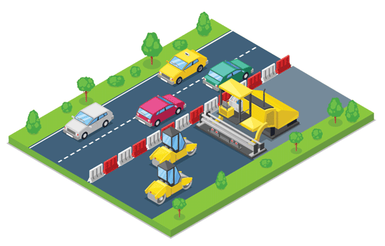 Illustration of a road construction zone