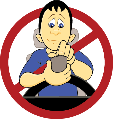Cartoon of a Calgary distracted driver texting